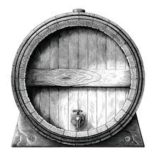 Antique Engraving Illustration Of Oak Barrel Hand Drawing Black And White Clip Art Isolated On White Background,Alcoholic Fermentation Barrel