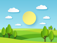 Paper Summer Landscape. Panoramic Green Field With Trees And Blue Sky With White Clouds. Layered Papercut Ecology Vector 3d Concept