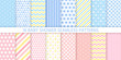 Baby shower pattern. Baby boy girl seamless texture. Vector. Blue pink childish textile print. Cute pastel backgrounds for invitation, invite template, card, birth party, scrapbook. Flat illustration.
