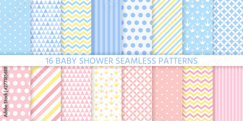 plakat Baby shower pattern. Baby boy girl seamless texture. Vector. Blue pink childish textile print. Cute pastel backgrounds for invitation, invite template, card, birth party, scrapbook. Flat illustration.