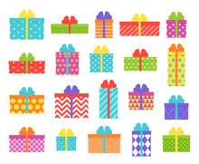 Gift Box. Vector. Christmas, Birthday Icon. Wrapped Presents With Bows And Ribbons Isolated. Holiday Symbols On White Background In Flat Design. Cartoon Illustration. Cute Colorful Set.