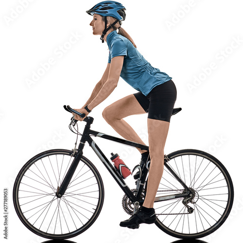 one caucasian cyclist woman cycling riding bicycle isolated on white background Wall mural