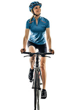 One Caucasian Cyclist Woman Cycling Riding Bicycle Smiling Happy Isolated On White Background
