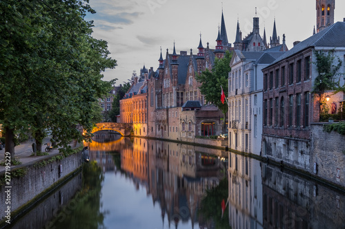 Poster Bridges Canals of Bruges (Brugge), Belgium. Summer evening view.