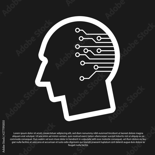 Black Human brain as digital circuit board icon isolated on