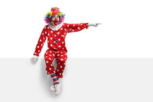 Clown Sitting On A White Panel...