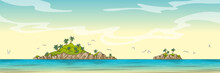 Panorama Landscape With Two Islands. Hand Drawn Vector Illustration With Separate Layers.
