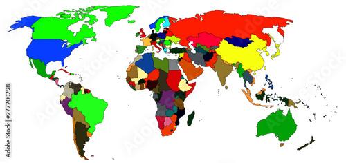 Türaufkleber Weltkarte A colorful map of the world