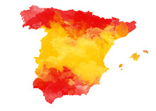 Abstract Watercolor Map Of Spain