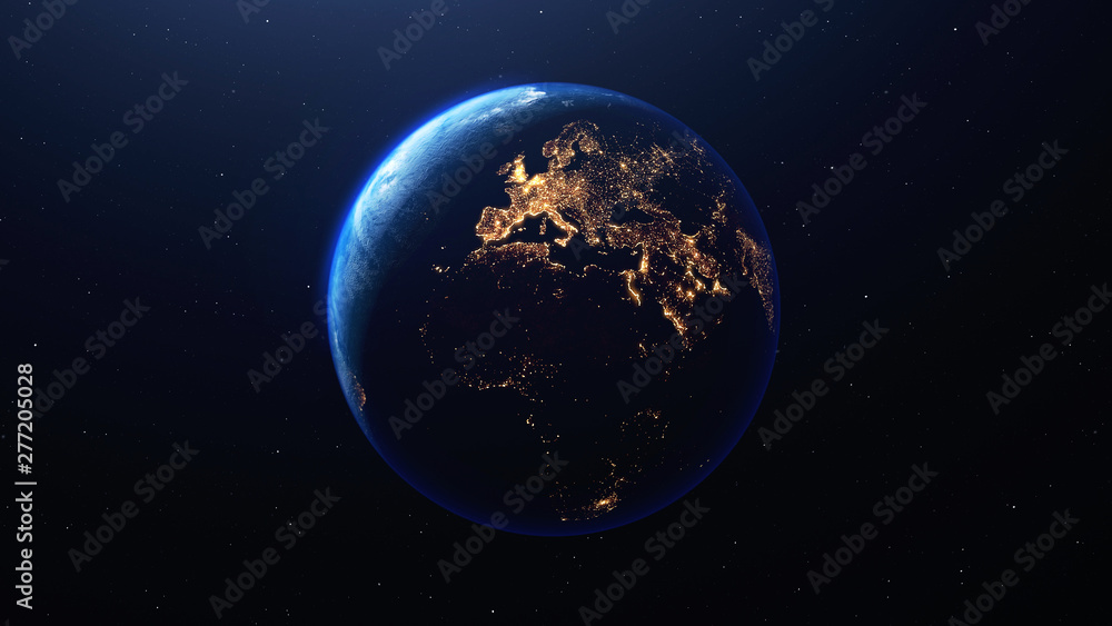 Fototapety, obrazy: Earth planet viewed from space at night showing the lights of Europe  and other countries, 3d render of planet Earth, elements of this image provided by NASA