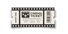 White Cinema Ticket With Barcode Template Isolated On White Background. Vector Design Element.