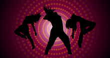 Silhouettes Of Dancing Girls.S...