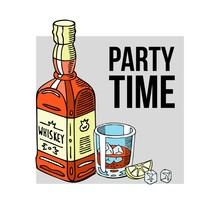 Party Time Banner Vector Illustration. Bottle Of Alcohol Drink With Label And Glass Of Whiskey With Ice Cubes And Slice Of Lemon. Product Packaging Brand Design. Beverages.