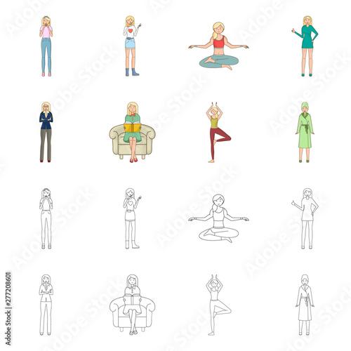 Vector illustration of posture and mood logo  Set of posture
