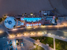 Aerial View Of Modern Restaurant On The Sea Near The Central Beach Of Valencia, Spain. Drone Photo.