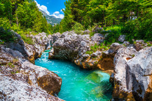 Emerald Color Soca River With Rocky Canyon Near Bovec, Slovenia