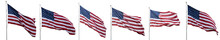 United States Flags Waving Iso...
