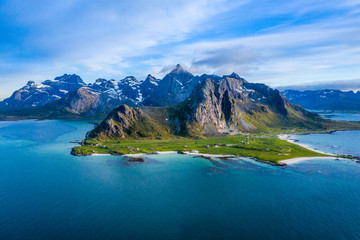 aerial view on the Flakstad...