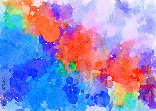 Valokuva  drop down color trickle  paint-like illustration abstract background with waterc