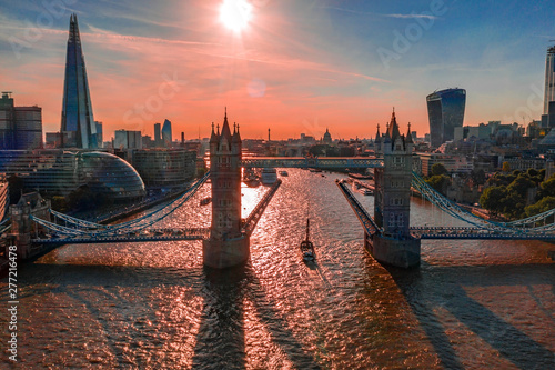 A view of Tower Bridge from above of the river Thames in London, United Kingdom