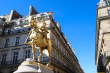 Gilded Bronze Equestrian Statue 1874, Depicting Saint Jeanne D Arc Joan Of Arc . Place Des Pyramides, Paris.