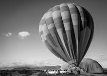 Hot Air Balloon Inflating In Arizona
