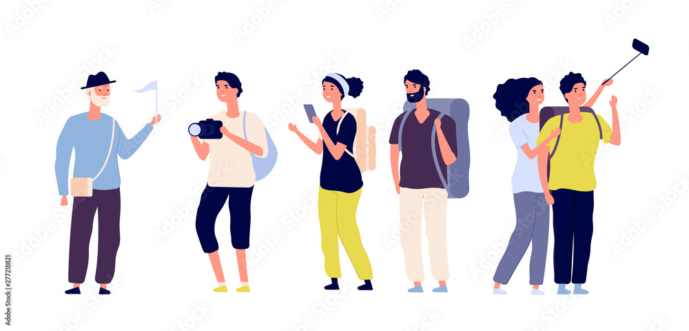 Fototapeta Tourists and tour guide. Young couples family, tourists travelling with camera taking photo in excursion. Summer vacation vector set. Tourist woman and man couple, travelling with guide illustration