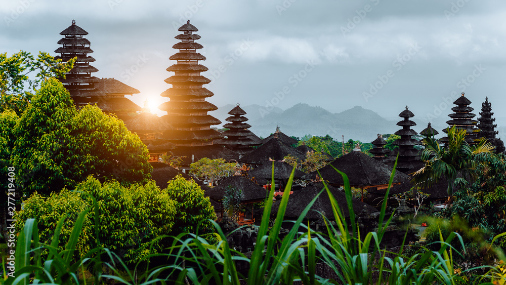 Fototapety, obrazy: Amazing sunset at Pura Besakih, hindu temple of Bali, Indonesia