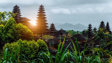 Amazing sunset at Pura Besakih, hindu temple of Bali, Indonesia