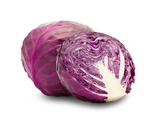 Whole Red Cabbage And Half Isolated On White Background With Clipping Path.
