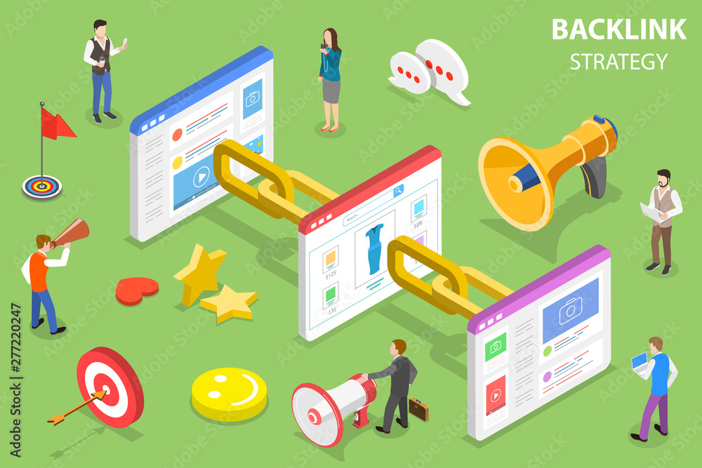 Fototapeta Isometric flat vector concept of backlink strategy, SEO link building, digital marketing campaign.