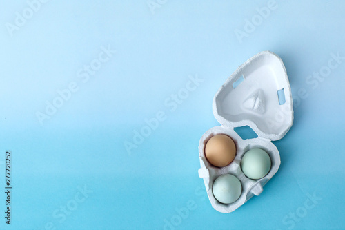 Two Blue and One Brown egg eggs from an organic farm