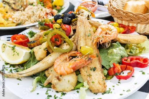 Vászonkép  Sea food dish from Casablanca, Moroco in Mediterranean style
