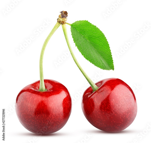 sweet cherry berry isolated on white background Fototapet