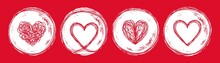 Set Of 4 Heart In Circle Shape...