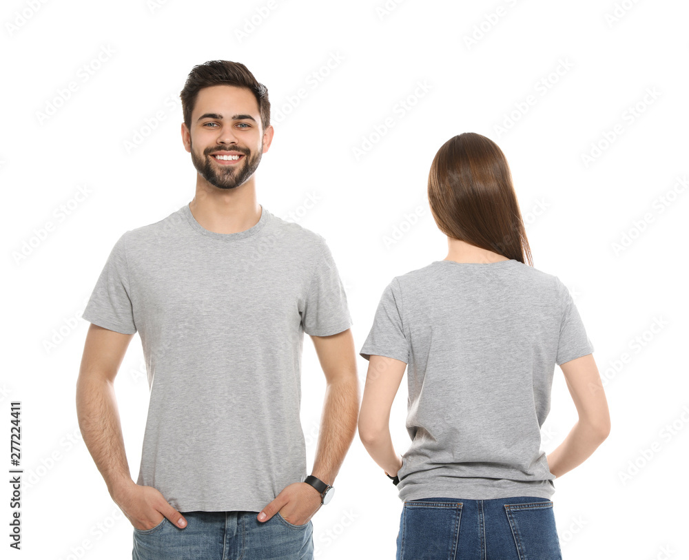 Fototapety, obrazy: Young people in t-shirts on white background. Mock up for design