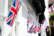 British & English National Flag At The Restaurant And Pub, London