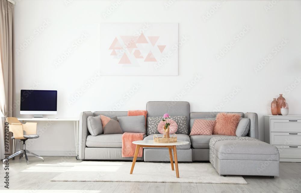 Fototapeta Modern living room interior with comfortable sofa