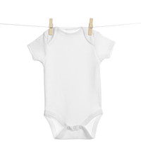 Baby Onesie Hanging On Clothes Line Against White Background. Laundry Day
