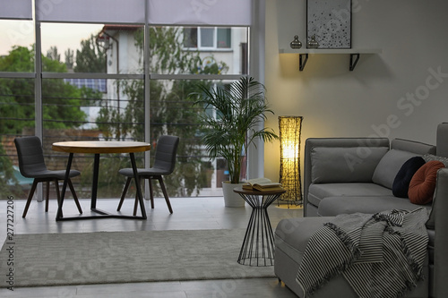Fototapeta Cozy living room with modern furniture and stylish decor. Ideas for interior obraz na płótnie