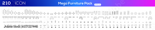 Fototapeta Furniture icon set .Vector illustration. obraz