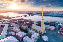 Saint Petersburg. Russia. Peter And Paul Fortress Panorama From Height. Peter And Paul Fortress In Spring. Rabbit Island. Vasilyevsky Island. Neva River. Bridges Of St. Petersburg. Travel To Russia.