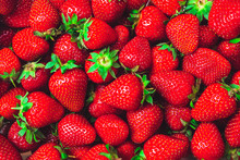 Many Red Ripe Strawberries With Green Stalks - Background