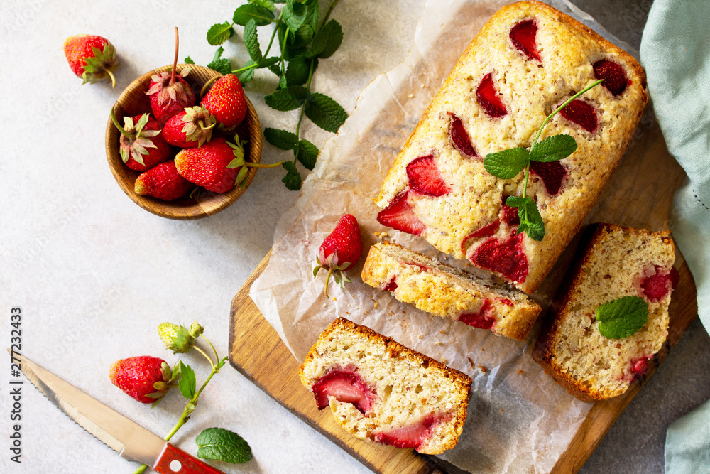 Fototapety, obrazy: Delicious summer dessert strawberry pie, sweet delicious holiday cake with strawberry on a light stone or slate table. Top view flat lay background.
