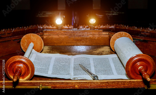 Photo NEW YORK NY March 2019. Jewish Torah old scroll book parchment