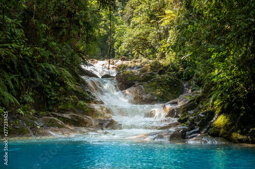 Foto auf Leinwand Forest river Blue falls of Costa Rica, natural landscape at Bajos del Toro close to the Catarata del Toro and San Jose. Photo taken at slow shutter speed and with ND filter. Smooth waterfall.