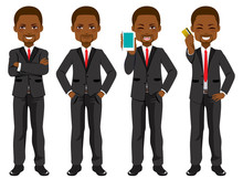 Confident African American Black Businessman Set Collection Standing In Different Poses