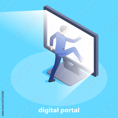 Photo Isometric vector image on a blue background, a man in a business suit enters a g