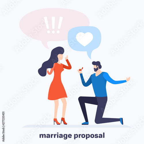 Fototapety, obrazy: flat vector image on white background, a man standing on his knee makes a proposal to a woman in a red dress, Valentine's Day