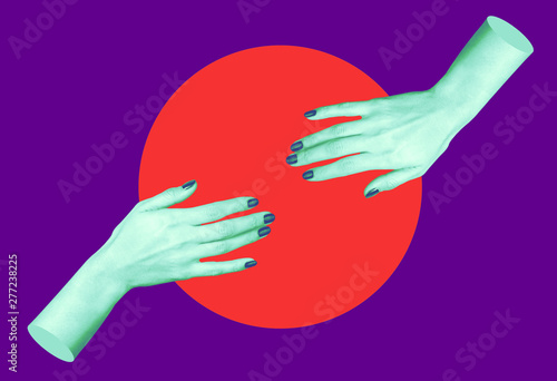 Fotografie, Obraz  Modern conceptual art poster with a hands in a massurrealism style